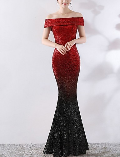 cheap Special Occasion Dresses-Mermaid / Trumpet Color Block Red Engagement Formal Evening Dress Off Shoulder Short Sleeve Floor Length Polyester with Sequin 2020