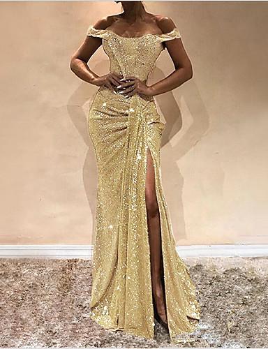 levne Šaty velkých velikostí-Dámské Elegantní Pouzdro Šaty - Jednobarevné, Flitry Pod rameny Glitter Maxi Pod rameny