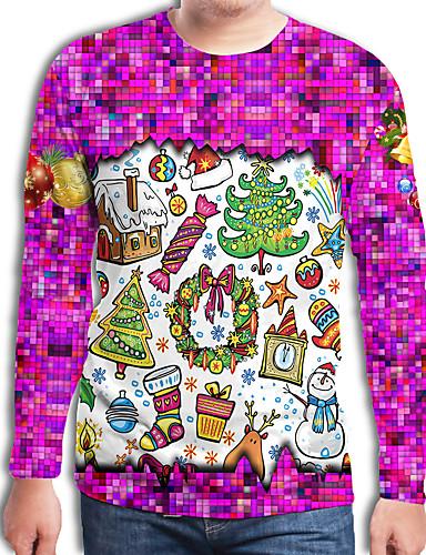 preiswerte Weihnachten-Herrn Einfarbig / 3D / Cartoon Design - Street Schick / Punk & Gothic T-shirt Druck Weihnachtsmann Fuchsia