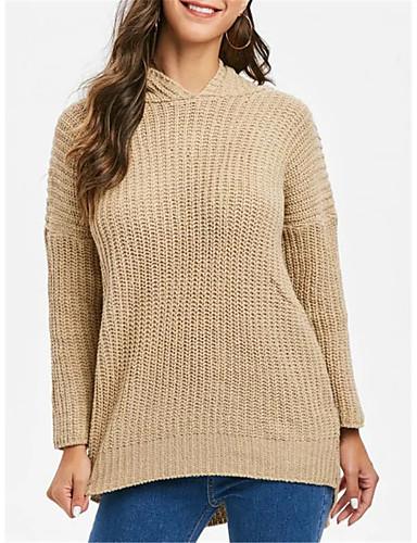 billige Dametopper-Dame Ensfarget Langermet Pullover Genserjumper, Med hette Svart / Kakifarget En Størrelse