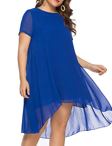 levne Šaty velkých velikostí-Dámské Cikánský Volné Swing Šaty - Jednobarevné Asymetrické