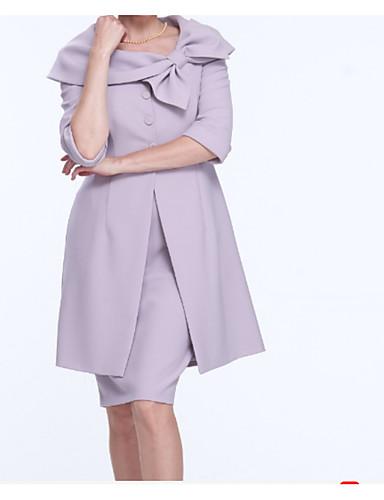 voordelige Wrap Dresses-Tweedelig Scoop Neck Tot de knie Chiffon Bruidsmoederjurken met Strik(ken) / Ruches / Geplooid door LAN TING Express / Wrap inbegrepen