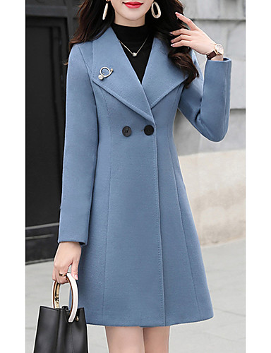 cheap Women's Coats & Trench Coats-Women's Daily Spring &  Fall Long Coat, Solid Colored Straight Collar Long Sleeve Wool Blend Fuchsia / Blue / Green