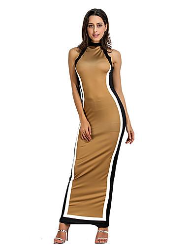 levne Maxi šaty-Dámské Základní A Line Šaty - Jednobarevné, Patchwork Maxi Jeřáb Černá