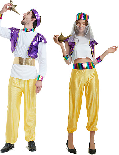 povoljno Maske i kostimi-Aladdin Cosplay Nošnje Izgledi Povorka maski Odrasli Par je Cosplay Halloween Halloween Festival / Praznik Polyster purpurna boja / Bijela Par je Karneval kostime / Kostim