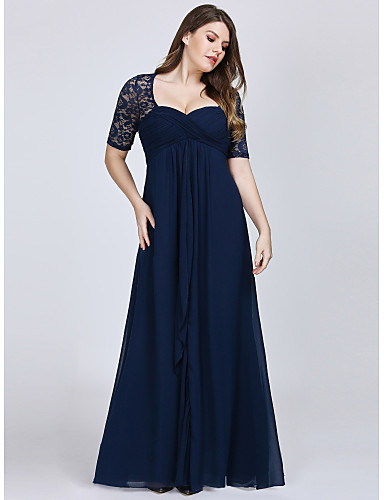 cheap Evening Dresses-A-Line Plus Size Blue Wedding Guest Formal Evening Dress Sweetheart Neckline Short Sleeve Floor Length Chiffon Lace with Draping Lace Insert 2020