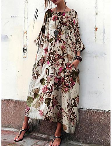 Жен. Прямое Платье - Цветочный принт Средней длины