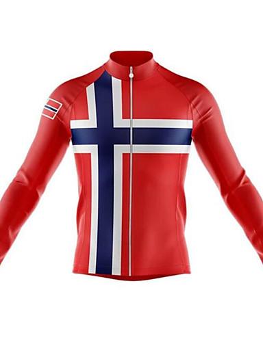 povoljno Odjeća za vožnju biciklom-21Grams Norway Muškarci Dugih rukava Biciklistička majica - Crna / crvena Bicikl Biciklistička majica Majice Ugrijati UV otporan Prozračnost Sportski Zima 100% poliester Brdski biciklizam biciklom na