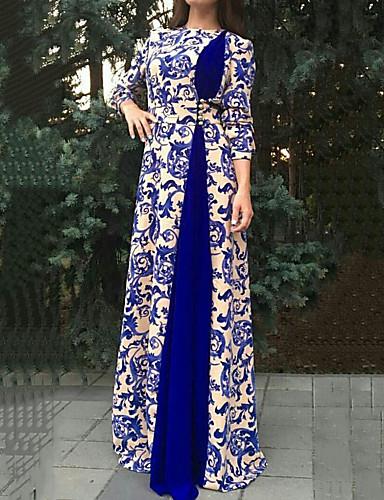 levne Maxi šaty-Dámské Větší velikosti Vintage Elegantní Šaty - Kašmírový vzor, Tisk Maxi