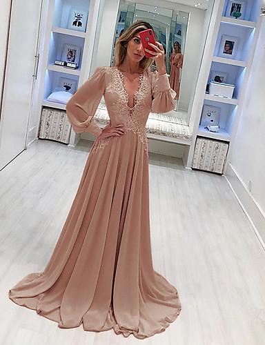 levne Maxi šaty-Dámské Elegantní Swing Šaty - Jednobarevné, Krajka Maxi Hluboké V