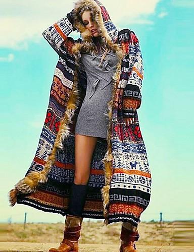 voordelige Damesjassen & trenchcoats-Dames Dagelijks Herfst winter Normaal Jas, Geometrisch Capuchon Lange mouw Polyester Regenboog