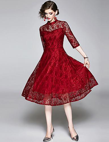 levne Maxi šaty-Dámské Vintage Elegantní A Line Šaty - Květinový, Krajka Vystřižený Patchwork Midi