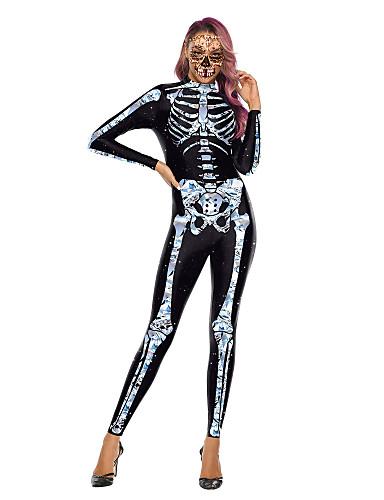 preiswerte Spielzeug & Hobby Artikel-Skelett / Totenkopf Cosplay Kostüme Erwachsene Damen One Piece Halloween Halloween Fest / Feiertage Polyester Weiß / Blasses Blau Damen Karneval Kostüme / Gymnastikanzug / Einteiler