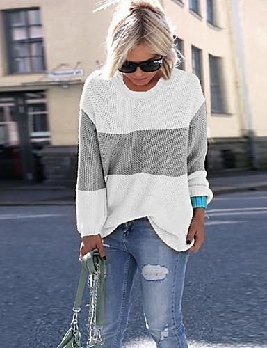 billige Gensere til damer-Dame Stripet Langermet Store størrelser Pullover Genserjumper, Rund hals Hvit / Rosa / Blå S / M / L