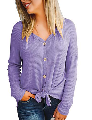 billige T-skjorter til damer-T-skjorte Dame - Ensfarget, Sløyfe Grunnleggende / Gatemote Svart