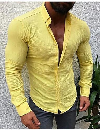 levne Pánské košile-Pánské - Jednobarevné Základní / Šik ven Košile, Patchwork Fuchsiová