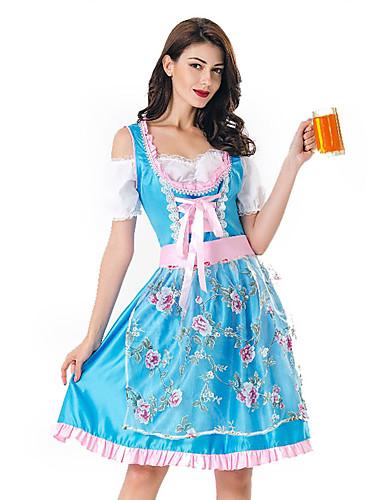 cheap Oktoberfest-Oktoberfest Beer Dirndl Trachtenkleider Women's Dress Bavarian Costume Red