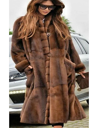 Žene Party / Dnevno Osnovni Jesen zima Dug Faux Fur Coat, Jednobojni Ruska kragna Dugih rukava Umjetno krzno Braon / Ogroman