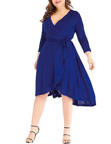 levne Šaty velkých velikostí-Dámské Pouzdro Šaty - Jednobarevné Délka ke kolenům