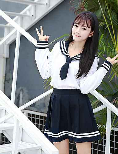 cheap Anime Cosplay-Inspired by Cosplay Schoolgirls Anime Cosplay Costumes Japanese Cosplay Suits School Uniforms Skirts Top Bow For Women's / Bow Tie / Bow Tie
