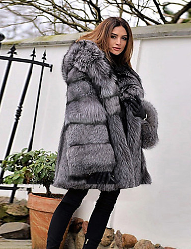 cheap Women's Furs & Leathers-Women's Party / Daily Basic Winter Regular Faux Fur Coat, Solid Colored Hooded Long Sleeve Faux Fur Gray