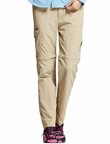 cheap Hiking Trousers & Shorts-Women's Hiking Pants Convertible Pants / Zip Off Pants Solid Color Summer Outdoor Breathable Rain Waterproof Quick Dry Anatomic Design Pants / Trousers Bottoms Black Army Green Grey Khaki Rose Red