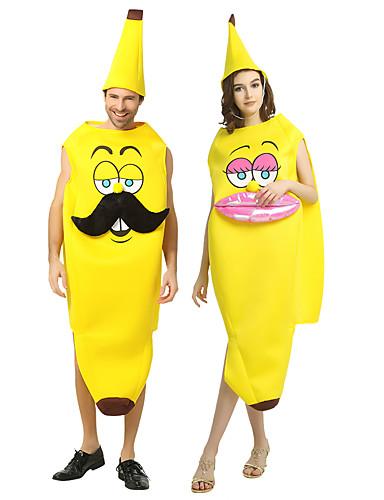 povoljno Maske i kostimi-Banana Cosplay Nošnje Izgledi Povorka maski Odrasli Par je Cosplay Halloween Halloween Festival / Praznik Polyster Crn / Blushing Pink Par je Karneval kostime / Kostim