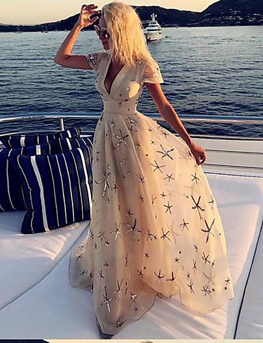 levne Maxi šaty-Dámské Elegantní Pouzdro Šaty - Abstraktní Maxi
