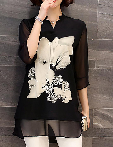 billige Dametopper-Skjorte Dame - Blomstret Svart
