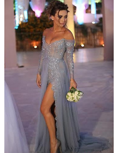 cheap Evening Dresses-A-Line Sexy Blue Engagement Formal Evening Dress Off Shoulder Long Sleeve Sweep / Brush Train Chiffon Lace with Split Lace Insert 2020