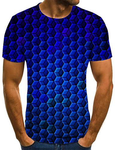 levne Pánská tílka-Pánské - Puntíky / Geometrický / 3D Šik ven Tričko, Plisé / Tisk Vodní modrá