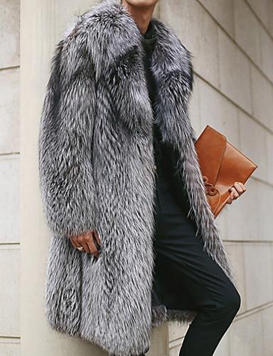 levne Pánské módní oblečení-Pánské Denní Dlouhé Faux Fur Coat, Jednobarevné Polostojatý límec Dlouhý rukáv Umělá kožešina Šedá