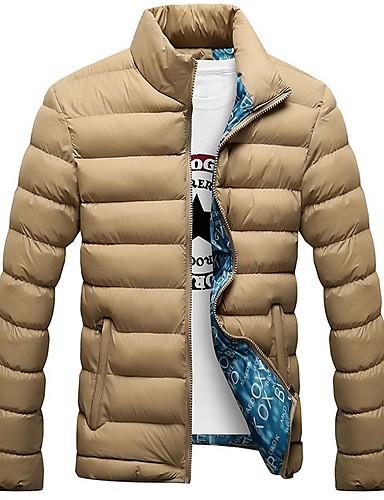 levne Pánské kabáty a parky-Pánské Jednobarevné Dlouhý kabát, Polyester Černá / Světle modrá / Námořnická modř US32 / UK32 / EU40 / US34 / UK34 / EU42 / US36 / UK36 / EU44