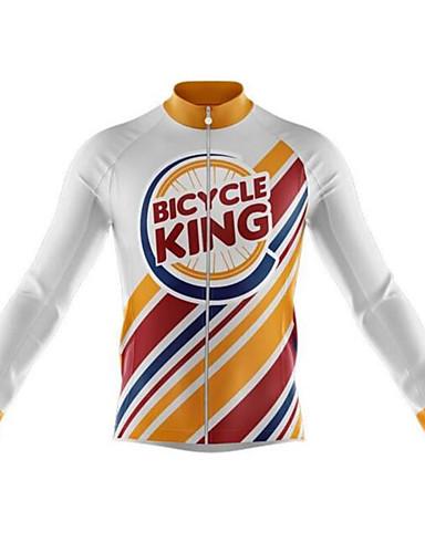 povoljno Odjeća za vožnju biciklom-21Grams smiješno Muškarci Dugih rukava Biciklistička majica - Orange+White Bicikl Biciklistička majica Majice Ugrijati UV otporan Prozračnost Sportski Zima 100% poliester Brdski biciklizam biciklom