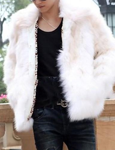 levne Pánská saka a kabáty-Pánské Denní Podzim zima Standardní Faux Fur Coat, Jednobarevné Přehnutý Dlouhý rukáv Umělá kožešina Černá / Bílá / Hnědá