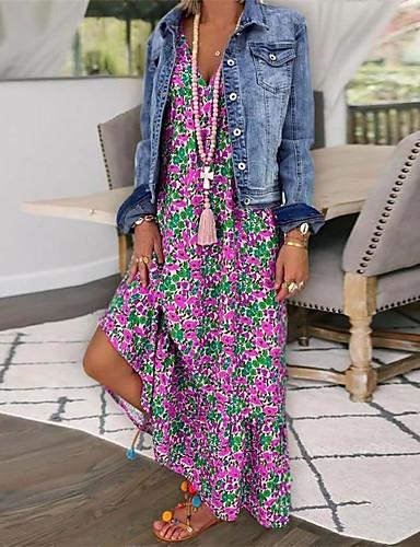 levne Maxi šaty-Dámské Volné Swing Šaty - Jednobarevné, Tisk Maxi Do V