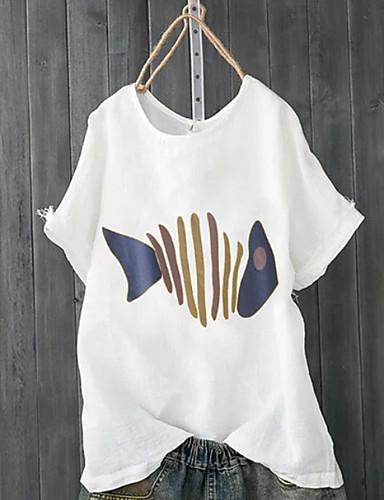 billige Dametopper-Løstsittende Store størrelser T-skjorte Dame - Dyr Hvit