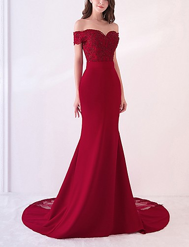 cheap Wedding Dresses-Mermaid / Trumpet Off Shoulder Court Train Polyester Beautiful Back / Pink Engagement / Formal Evening Dress with Appliques / Pattern / Print 2020