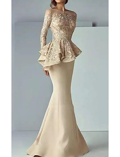 preiswerte Hochzeiten & Feste-Trompete / Meerjungfrau Bateau Pinsel Schleppe Satin Formeller Abend Kleid mit Rüschen durch LAN TING Express
