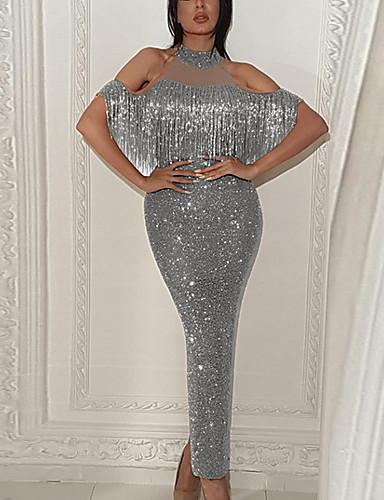 levne Maxi šaty-Dámské Bodycon Šaty - Jednobarevné, Třásně Maxi