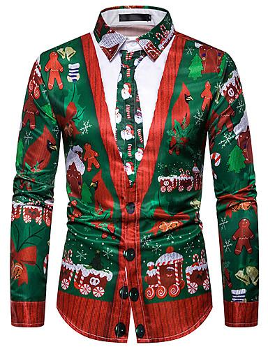 levne Pánské košile-Pánské - Grafika Košile Duhová