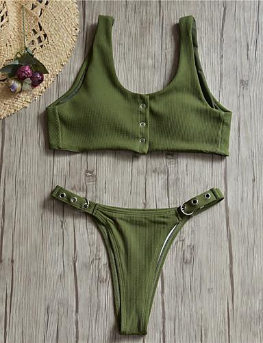 billige Bikinier og damemote-Dame Grunnleggende Svart Lyseblå Hvit Trekant Cheeky Bikini Badetøy - Ensfarget Åpen rygg S M L Svart