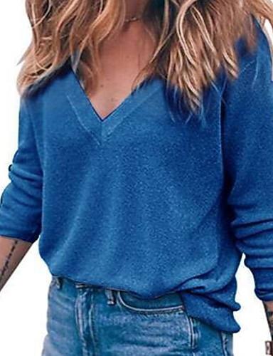 billige Dametopper-Dame Ensfarget Langermet Pullover Genserjumper, V-hals Svart / Rosa / Blå S / M / L