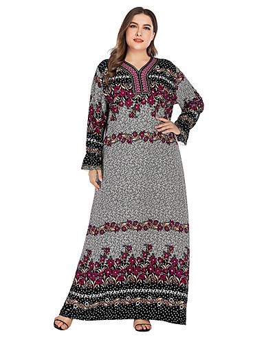 voordelige Maxi-jurken-Dames Standaard Elegant Recht Jurk - Bloemen, Kant Geborduurd Print Maxi