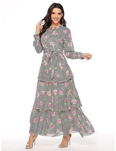 voordelige Maxi-jurken-Dames Boho Elegant Chiffon Wijd uitlopend Jurk - Gestreept Bloemen, Meerlaags Print Maxi
