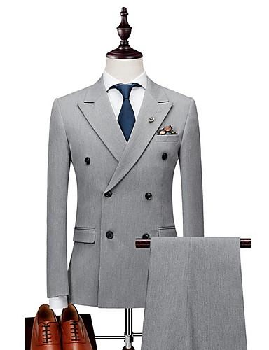 voordelige Herenblazers & kostuums-Heren Blazer, Effen Ingesneden revers Polyester Zwart / Lichtgrijs