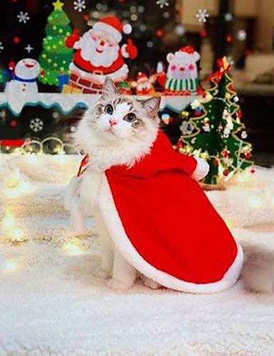 preiswerte Spielzeug & Hobby Artikel-Nagetiere Hunde Katzen Weihnachten Winter Hundekleidung Rot Weihnachten Kostüm Shih Tzu Chihuahua Zwergpudel Stoff Solide Weihnachten Halloween S M L