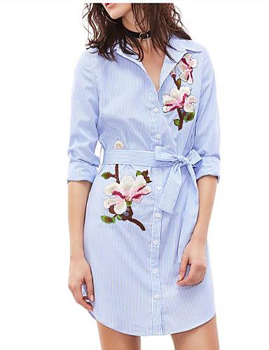 billige Dametopper-Skjorte Dame - Stripet, Broderi Grunnleggende BLå & Hvit Lyseblå