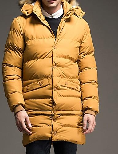 levne Pánské kabáty a parky-Pánské Jednobarevné S vycpávkou, Polyester Černá / Žlutá / Vodní modrá US32 / UK32 / EU40 / US34 / UK34 / EU42