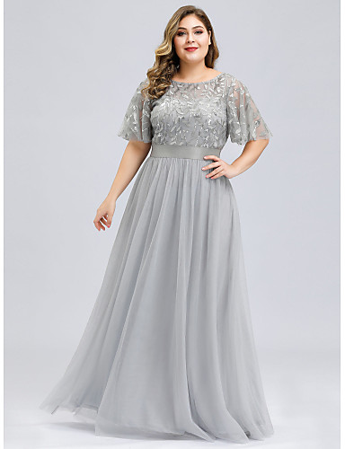 cheap Plus Size Dresses-A-Line Plus Size Grey Party Wear Prom Dress Jewel Neck Short Sleeve Floor Length Tulle Sequined with Sequin Appliques 2020